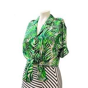 Tropical Palm Tree Green White and Tan Blouse